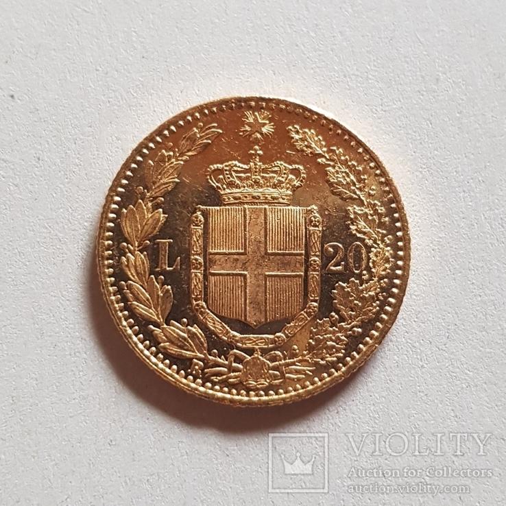 Италия, 20 лир 1882г., золото 6,45г., фото №7