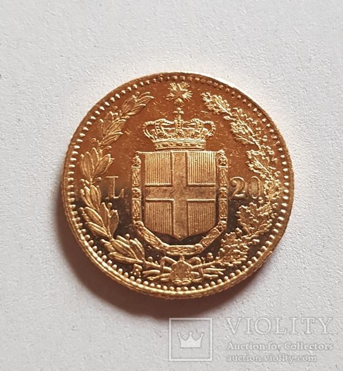 Италия, 20 лир 1882г., золото 6,45г., фото №8