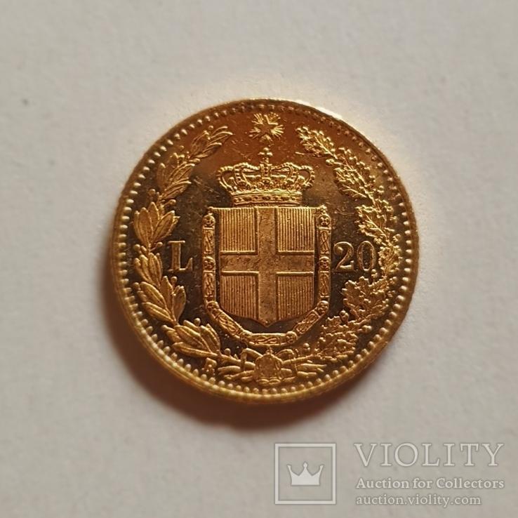 Италия, 20 лир 1882г., золото 6,45г., фото №2