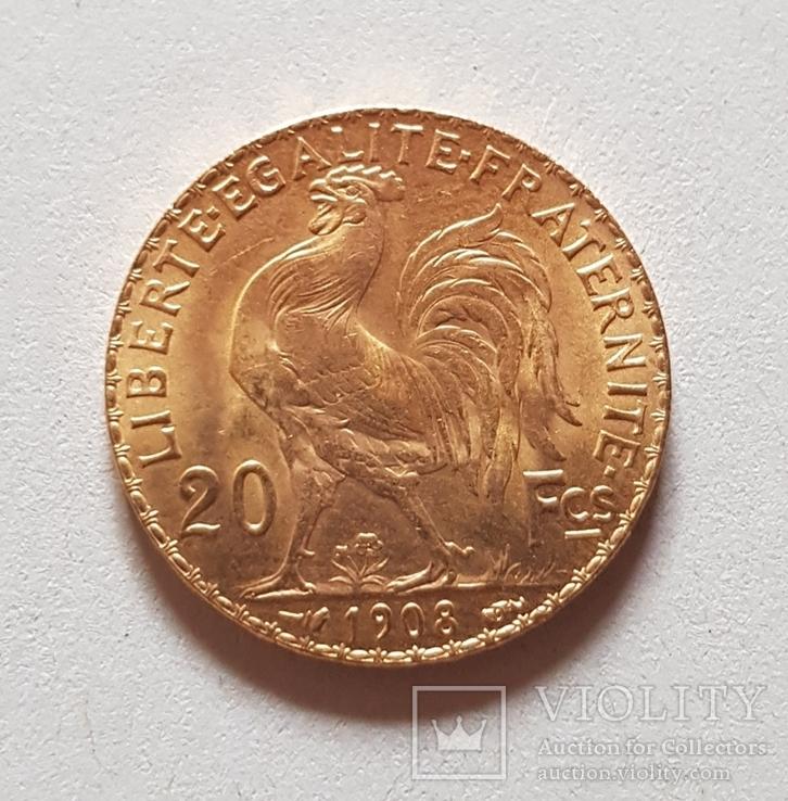 20 франков 1908 год, Франция, золото 6,45 грамм 900', фото №6