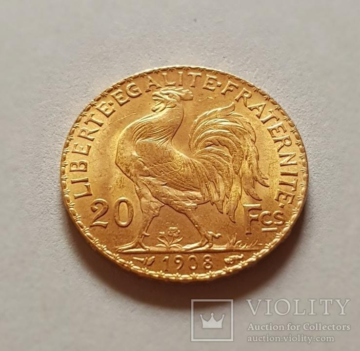 20 франков 1908 год, Франция, золото 6,45 грамм 900', фото №7