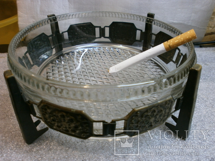 Пепельница большая винтаж СССР стекло бронза чеканка, фото №12