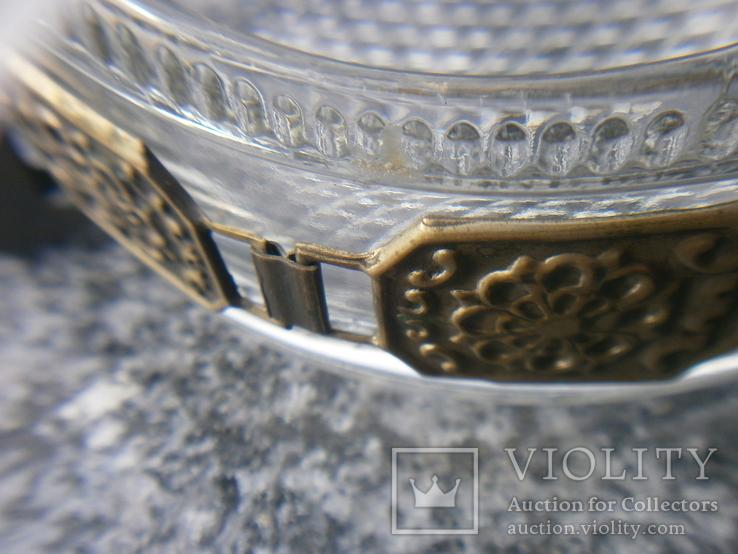 Пепельница большая винтаж СССР стекло бронза чеканка, фото №13