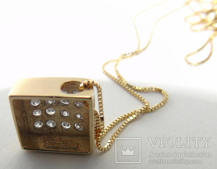 Золотой кулон с бриллиантами на цепочке, фото №5