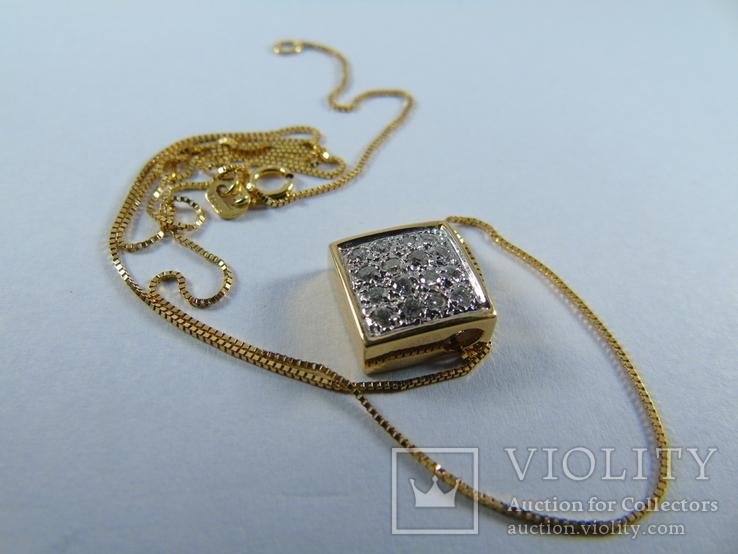 Золотой кулон с бриллиантами на цепочке, фото №10