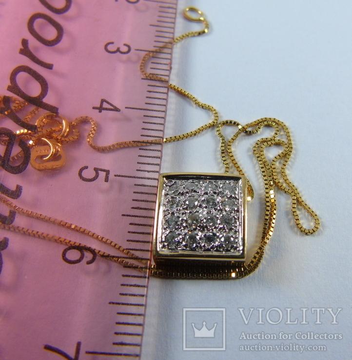 Золотой кулон с бриллиантами на цепочке, фото №11