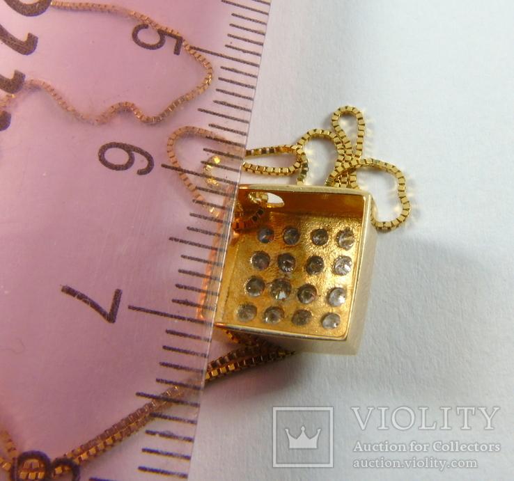 Золотой кулон с бриллиантами на цепочке, фото №12