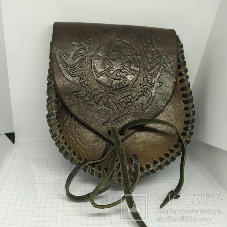 Кожаная сумочка с тиснением. На пояс. Плотная кожа, фото №2