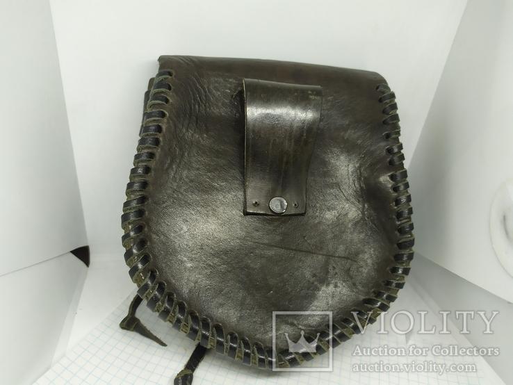 Кожаная сумочка с тиснением. На пояс. Плотная кожа, фото №7