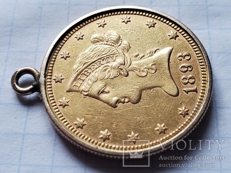 США,Америка,10 $ долларов 1893 года в оправе,золото 900°., фото №6