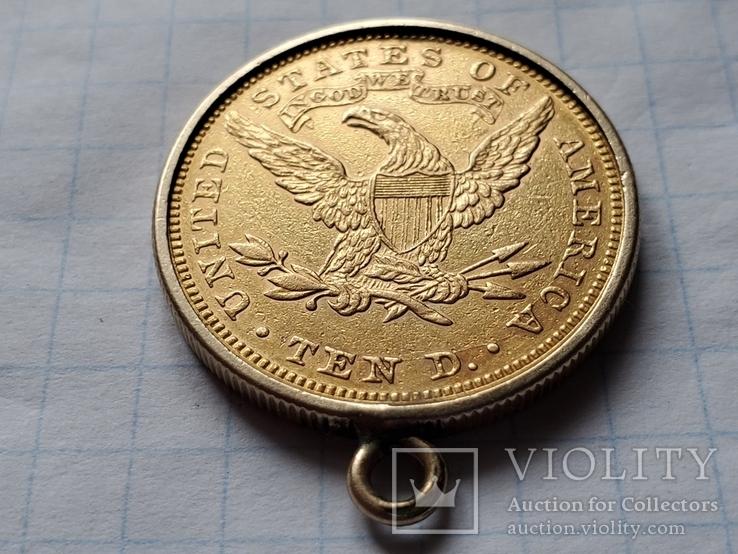 США,Америка,10 $ долларов 1893 года в оправе,золото 900°., фото №8