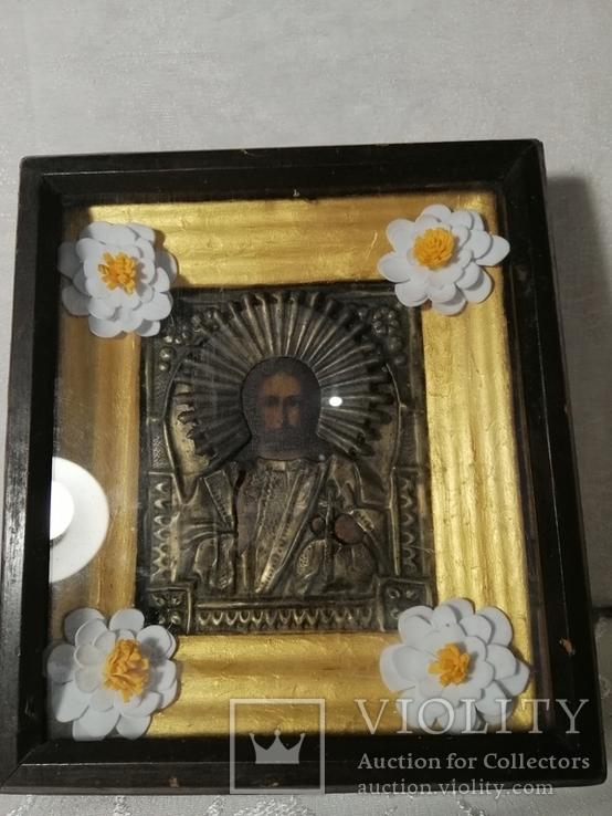 Икона Иисус Христос Спас в окладе в киоте, фото №2