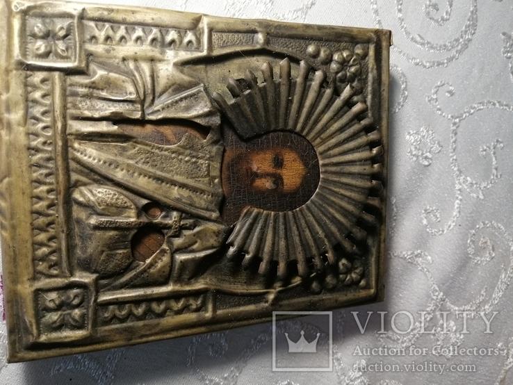 Икона Иисус Христос Спас в окладе в киоте, фото №4