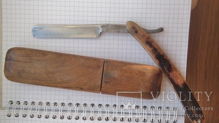 Опасная бритва Crown and sword solingen в деревянном футляре, фото №2