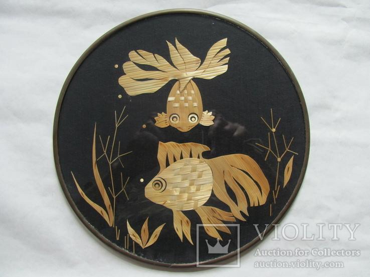 Панно Золотые рыбки из соломки, фото №2