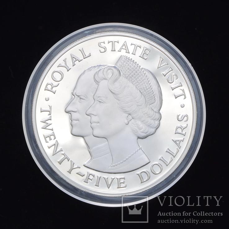 25 Долларов 1983 Королевский Визит (Серебро 0.925, 136.08г) 4oz, Ямайка 4 Унции, фото №2