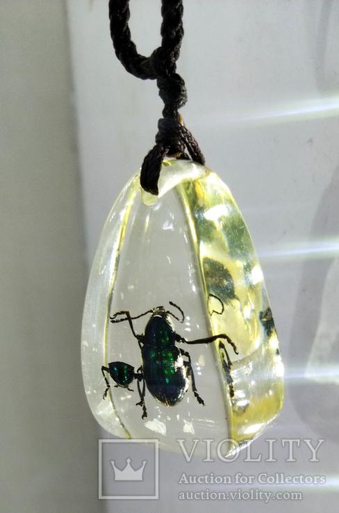 Кулон жуки в эбоксидке, на шнурке, фото №7