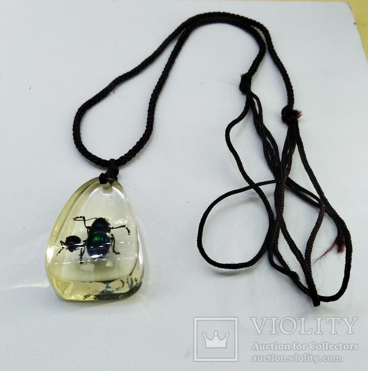 Кулон жуки в эбоксидке, на шнурке, фото №12