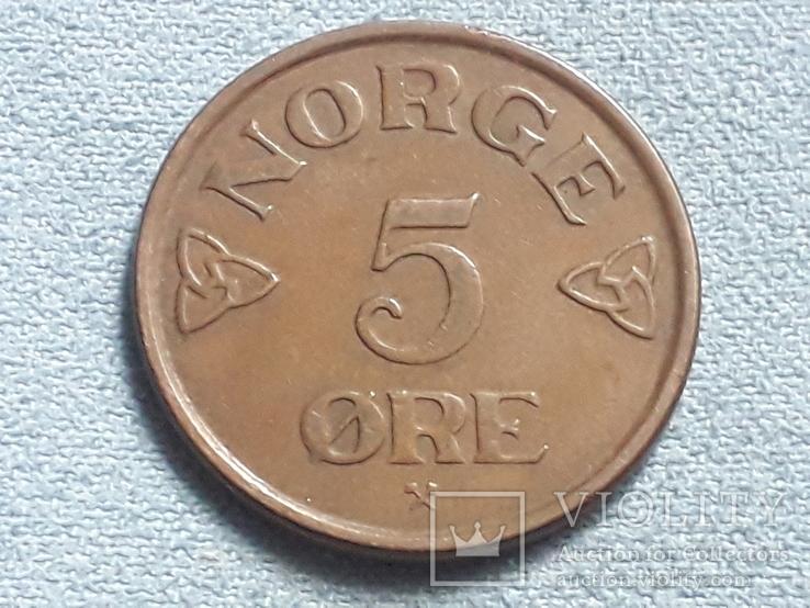 Норвегия 5 эре 1957 года, фото №2