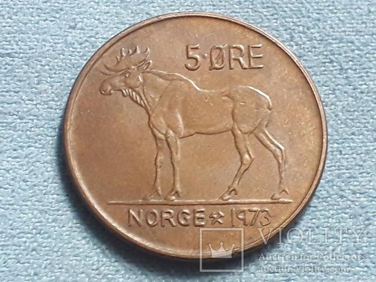 Норвегия 5 эре 1973 года, фото №2