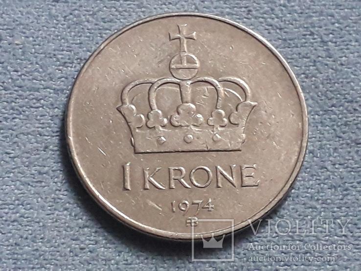 Норвегия 1 крона 1974 года, фото №2