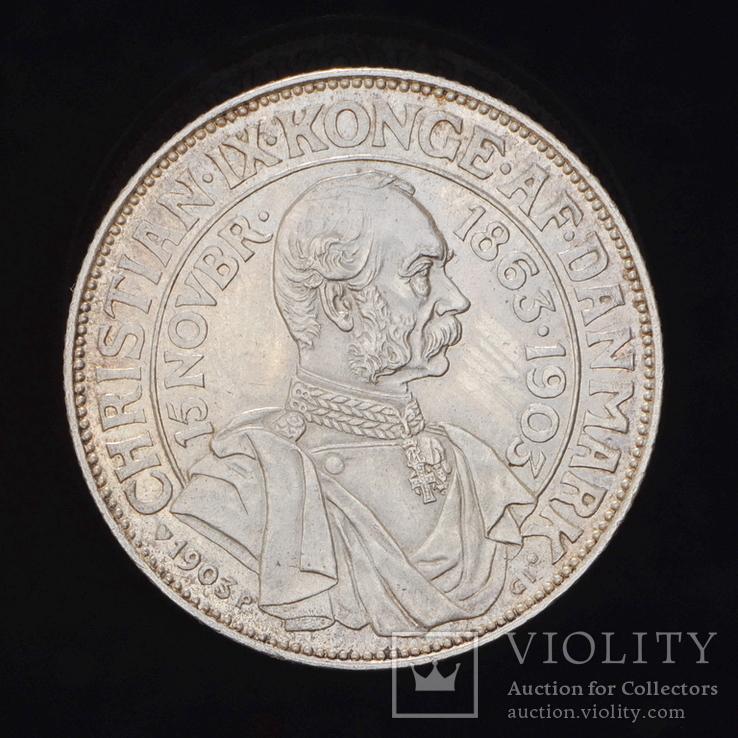 2 Кроны 1903 40 лет правления, Дания, фото №3