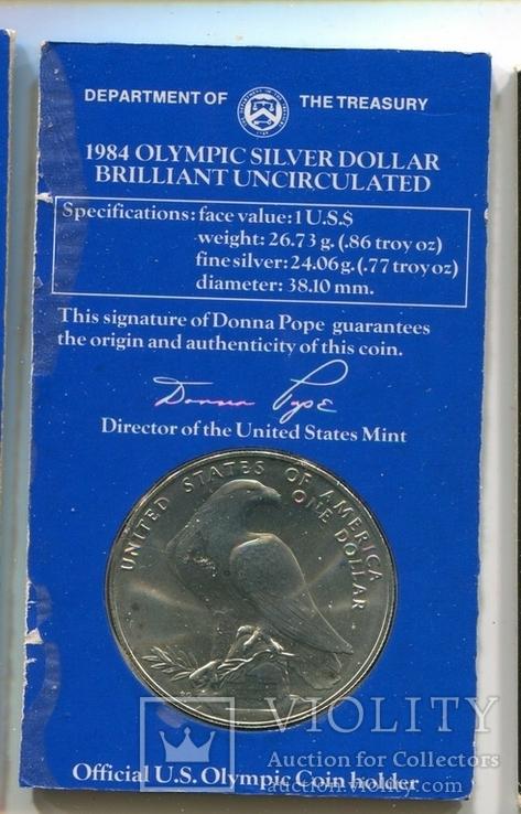 США 1 доллар 1984 XXIII Летние Олимпийские игры 1984 года в Лос-Анжелесе. Серебро., фото №3