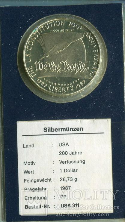 США 1 доллар 1987 г. 200-летие конституции США. Серебро., фото №2