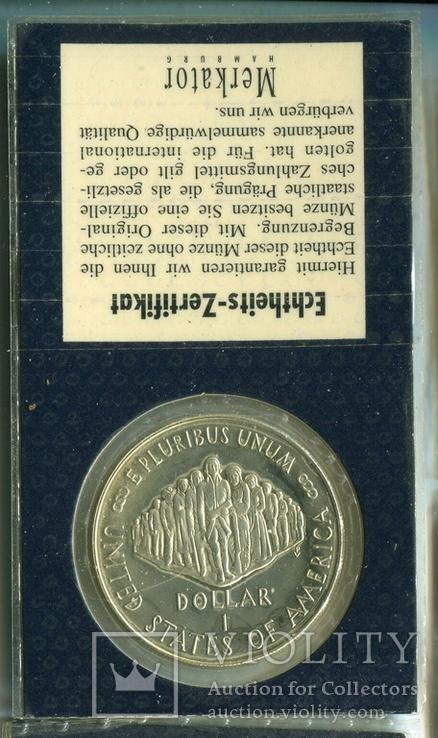 США 1 доллар 1987 г. 200-летие конституции США. Серебро., фото №3