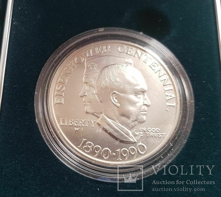 США 1 доллар 1990 г. 100-летие Эйзенхауэра. Серебро. Коробка,, фото №3