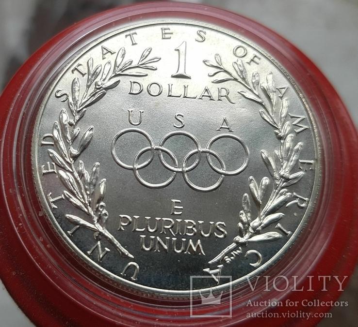 США 1 доллар 1988 г. Серебро XXIV Летние Олимпийские игры в Сеуле 1988 года., фото №3