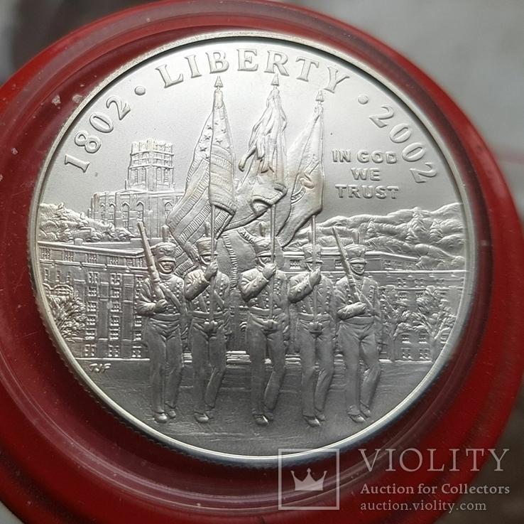 США 1 доллар 2002 г. 200-летие военной академии Вест-Поинта. Серебро, фото №2
