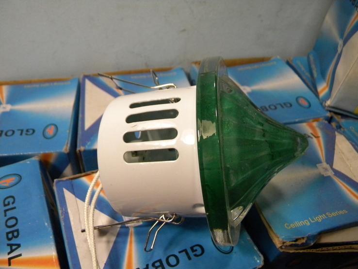 Светильники 10 штук+10 лампочек зелёное стекло., фото №7