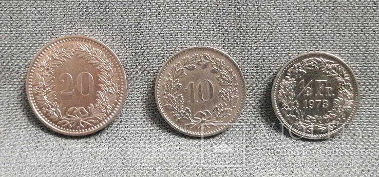 Швейцария. 20, 10 раппенов и 1/2 франка., фото №2
