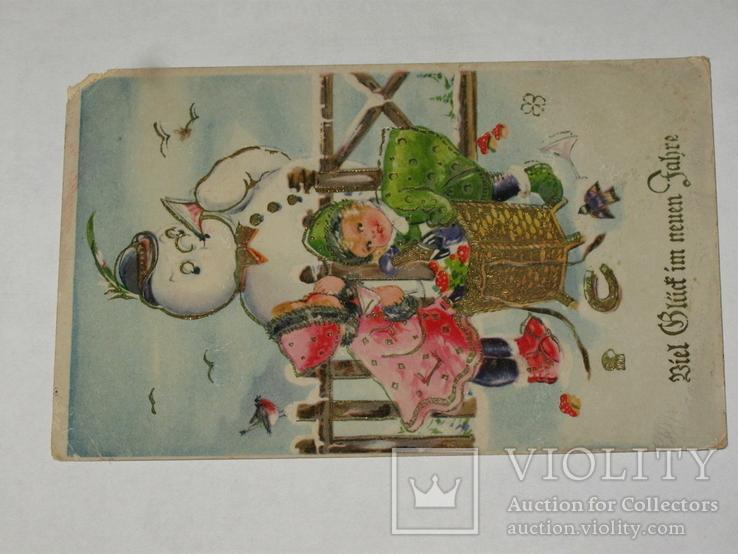 Открытка 1933-1945 Рейх Новогодняя Сниговик   №129, фото №3