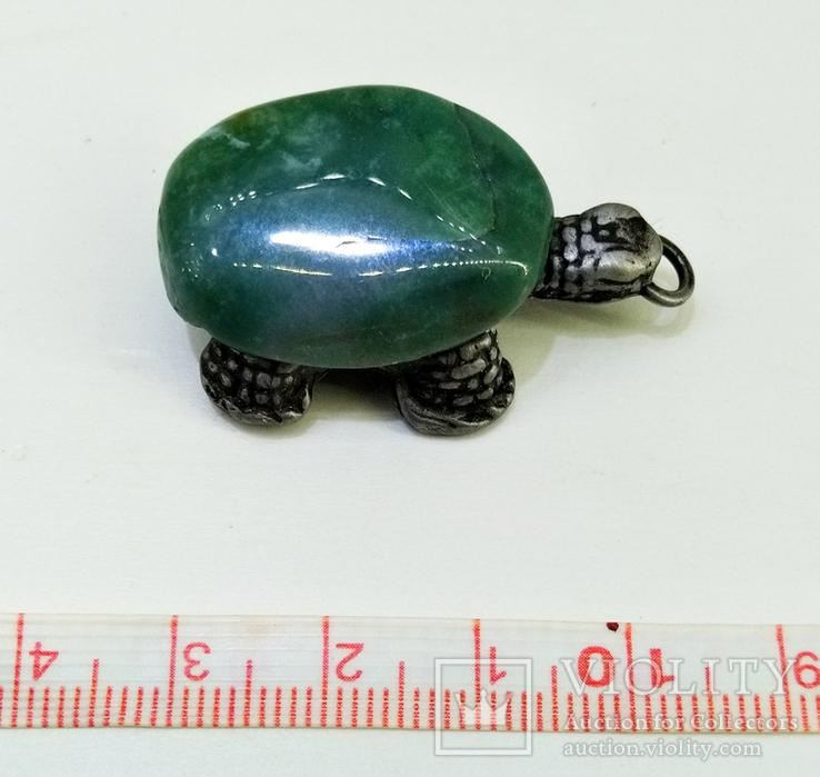 Подвеска Черепашка с зелёным камнем, 18,37 грамм, фото №6