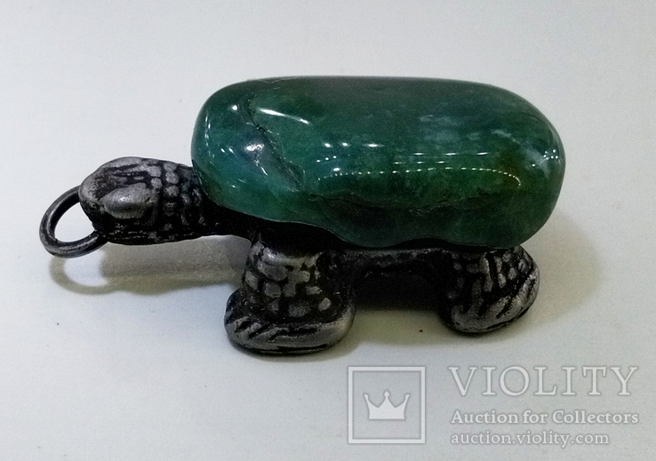 Подвеска Черепашка с зелёным камнем, 18,37 грамм, фото №7
