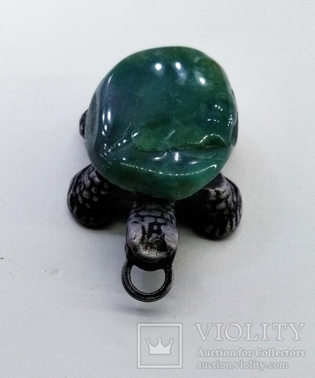 Подвеска Черепашка с зелёным камнем, 18,37 грамм, фото №10