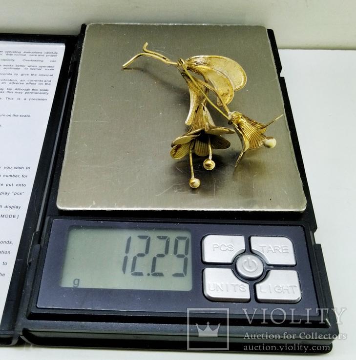 """Латунная брошь """"цветок"""" 12,29 грамм., фото №4"""