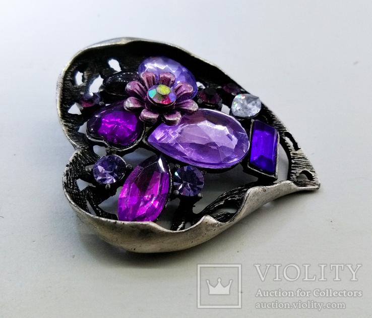 Подвеска мельхиор серебрение с камнями. 22,87 грамм, фото №5