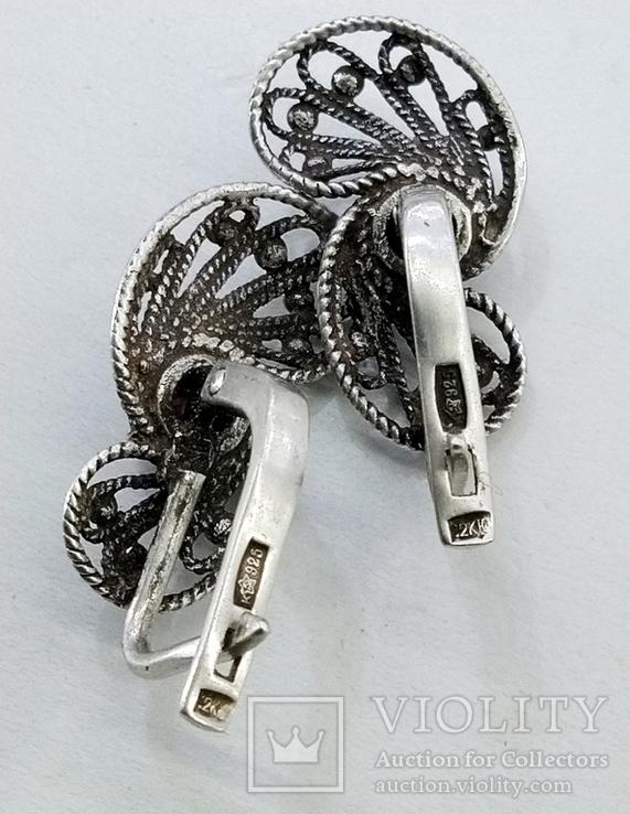 Серебренные сережки скань, проба 925 звезда клеймо, фото №3