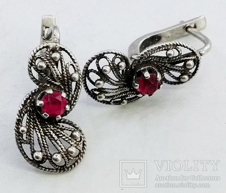 Серебренные сережки скань, проба 925 звезда клеймо, фото №4