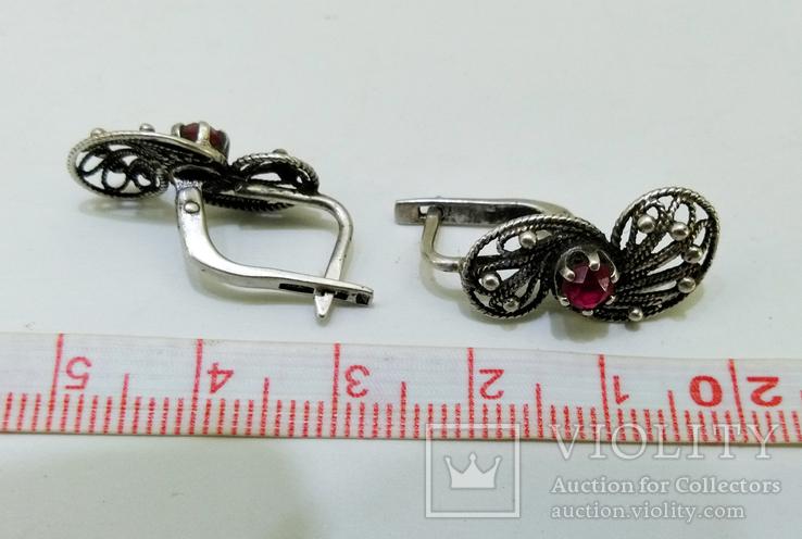 Серебренные сережки скань, проба 925 звезда клеймо, фото №9