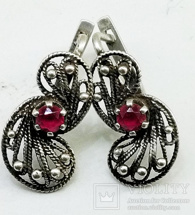 Серебренные сережки скань, проба 925 звезда клеймо, фото №10