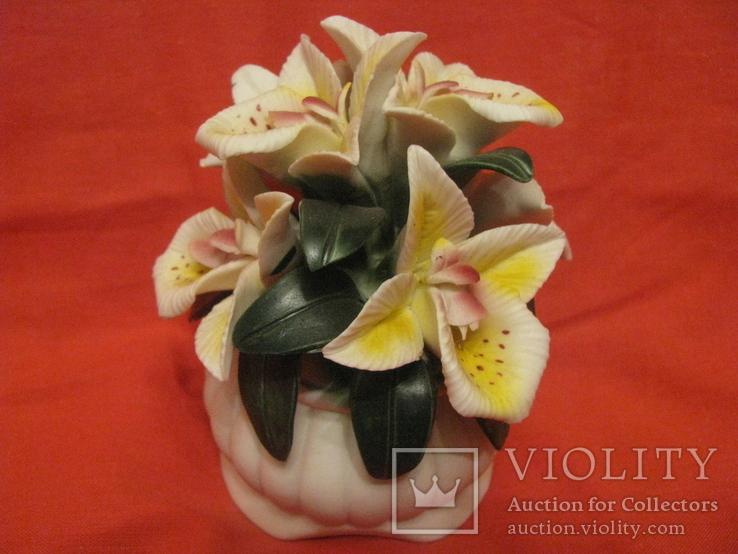 Статуэтка - Букет орхидей в вазе - фарфор., фото №4