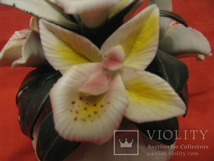 Статуэтка - Букет орхидей в вазе - фарфор., фото №6