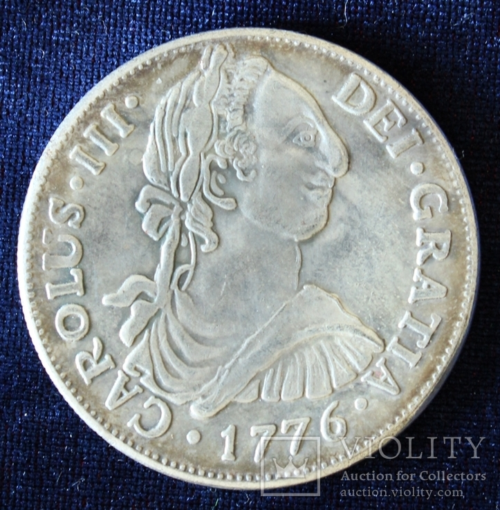 Испания. 8 реалов. 1776 год. Копия. Звенит. Магнитится. Реверс перевернут.(3), фото №2
