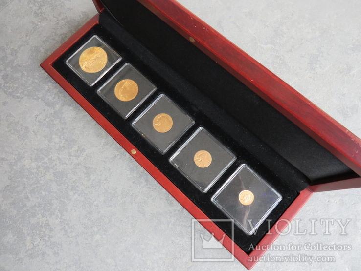 США 10 монет золото 1$  2,5$  5$  10$  20$, фото №3