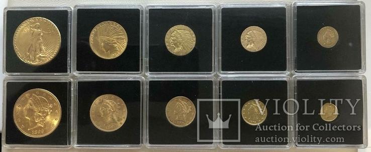 США 10 монет золото 1$  2,5$  5$  10$  20$