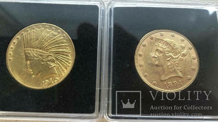США 10 монет золото 1$  2,5$  5$  10$  20$, фото №7